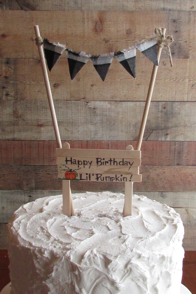 Pumpkin Birthday Cake Topper Happy Lil