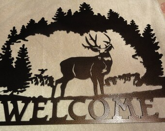 Deer and Forest Welcome Sign Metal Art