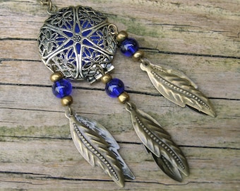 Navy Dream Catcher Locket Pendant, Bohemian dreamcatcher jewelry, Essential oil diffuser necklace aromatherapy charm, Native american indian