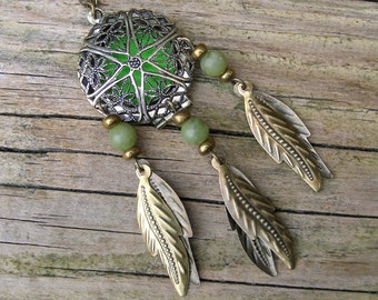 Jade Dream Catcher Locket Pendant, Green jadeite gem stone dreamcatcher bohemian jewelry, Essential oil diffuser necklace aromatherapy charm
