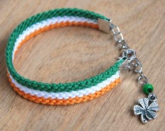 Irish flag bracelet, Irish four leaf clover friendship bracelet, Shamrock bracelet, Ireland flag gifts, Irish gifts, Notre Dame football