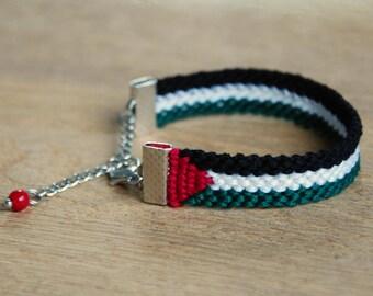Palestine flag bracelet, Adjustable palestinian flag friendship bracelet