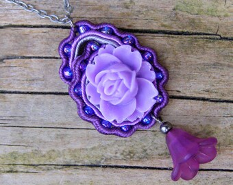 Soutache paisley fiber necklace, ethnic embroidery jewelry, bohemian pendant, gypsy charm, hippie flowers, purple, violet, grey, oxide OOAK