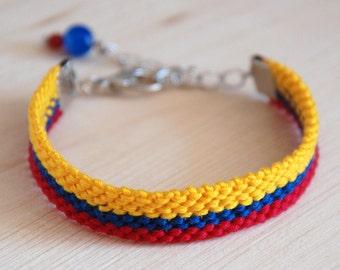 Ecuador flag bracelet, adjustable Ecuadorian friendship bracelet