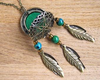 Chrysocolla Locket Pendant, Essential oil diffuser necklace, Dream catcher aromatherapy charm, Green gem stone dreamcatcher bohemian jewelry
