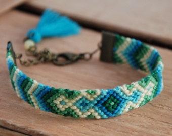 Bohemian turquoise tassel bracelet, Aztec wayuu, Green and yellow ikat, Eclectic fiber jewelry, Ethnic tribal charm, Kaleidoscope bracelet