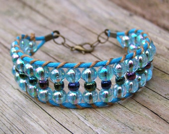 Arm party bracelet, Teal cuff bracelet, Bright blue beaded, Turquoise bohemian jewelry, Golden gypsy woven cuff, Funky girl gift fun jewelry