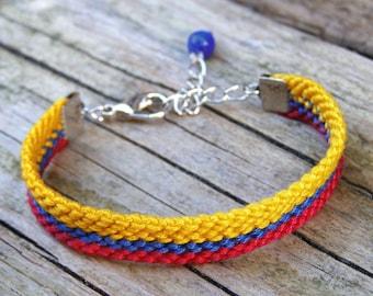Colombian flag wayuu bracelet, Colombian jewelry, Friendship bracelet, Colombia bracelet, Country symbol, Colombian bracelet, Colombia flag