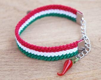 Italian horn bracelet, Italian flag bracelet, Napoli jewelry, Friendship bracelet, Naples Italy bracelet, Red chili pepper, Cornicello charm