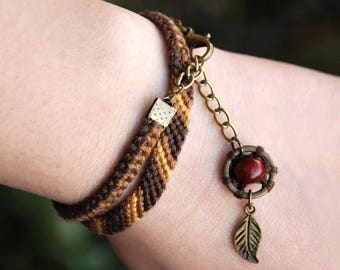 Dream Catcher Bracelet, Wood dreamcatcher, Native american, Friendship jewelry, Cotton wrap ethnic macrame, Tribal leaf charm, Brown tribe