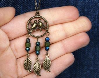 Bird Dream Catcher Pendant Necklace, Bird nest necklace, Ethnic navy dreamcatcher, Layering necklace, Bohemian best friend gift for her