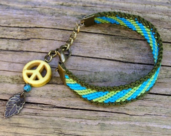 Peace Sign Dream Catcher Bracelet, Turquoise native bracelet, Yellow dreamcatcher, American indian feather, Ethnic woven cotton stripe wayuu