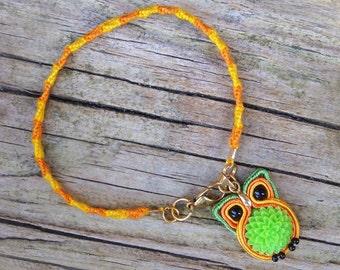 Miniature Owl Charm Bracelet, Woodland animal totem jewelry, Tiny forest bird, Ethnic fiber soutache embroidery, Green flower, Orange yellow