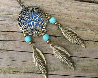 Essential Oil Diffuser Necklace, Turquoise Dream Catcher Locket Necklace, Bohemian dreamcatcher jewelry, Aromatherapy fragrance oil inhaler