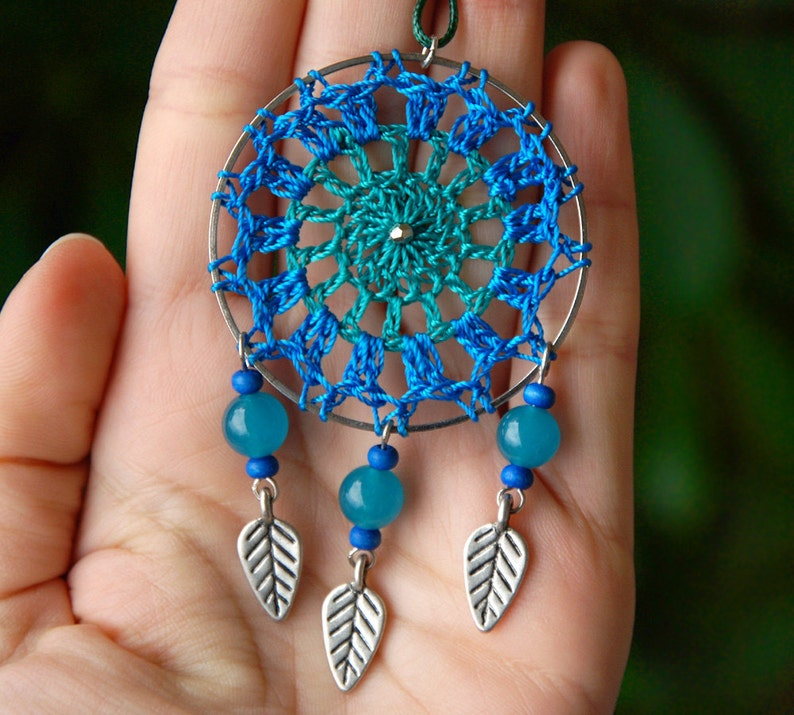 Blue lace pendant Boho dream catcher Lace dream catcher Blue jade pendant necklace Jadeite necklace crochet dreamcatcher pendant