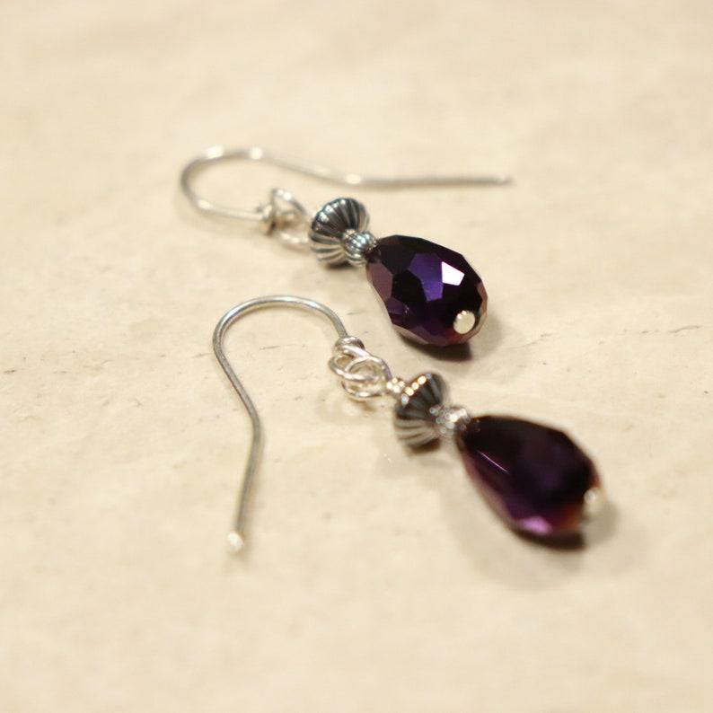 Purple Earrings Gothic Earrings French Wires Purple Bead Earrings Boho Earrings Crystal Teardrop Purple 925 Sterling Silver Earrings