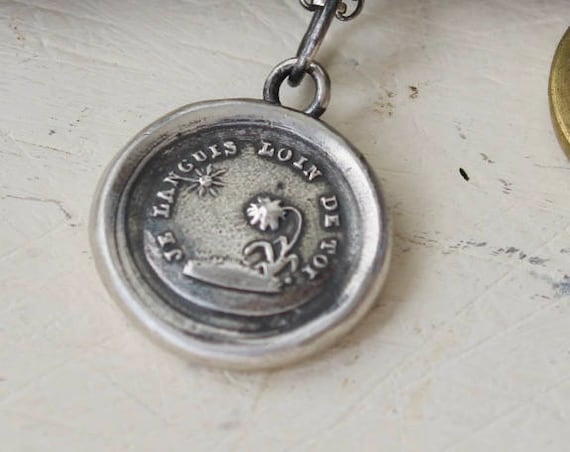 Long distance love, I miss you.....  Without you I languish.  Antique wax letter seal necklace. Sterling amulet,