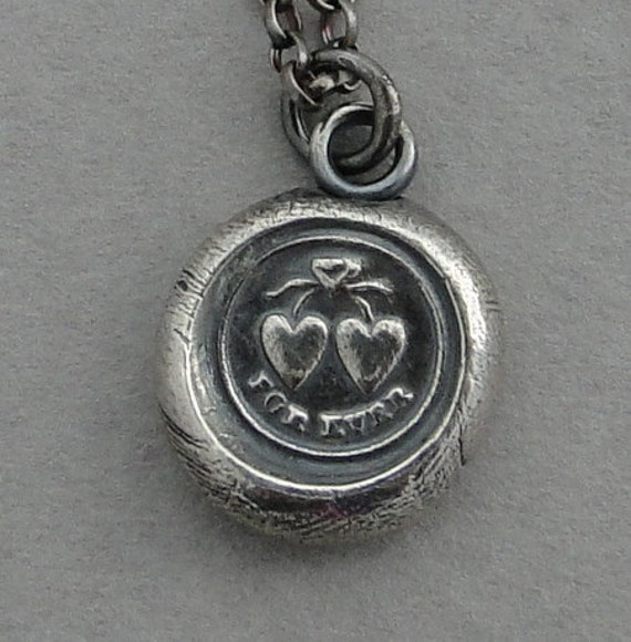 FOREVER..... antique wax seal, silver necklace, sterling silver, love, two heart joined as one, talisman, pendant, bridal jewelry, valentine