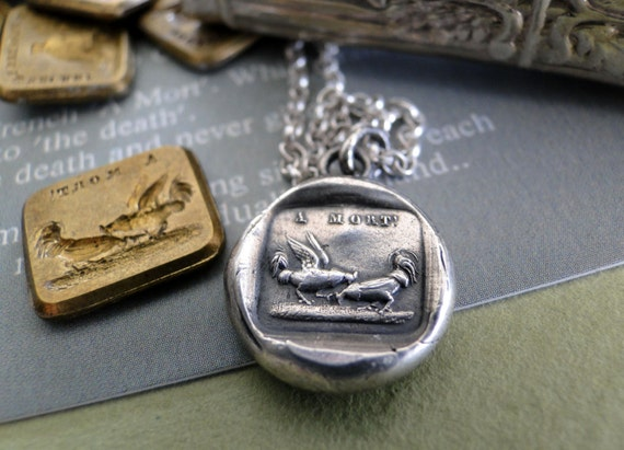A mort, to death……..sterling silver antique wax seal stamp jewelry, Sterling silver, handmade necklace, cockerel, promise, to death
