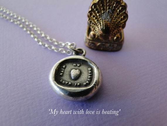 My Heart with love is beating….. sterling silver, wax letter seal impression. Rebus puzzle, love, romantic, heart, love, meaningful jewelry