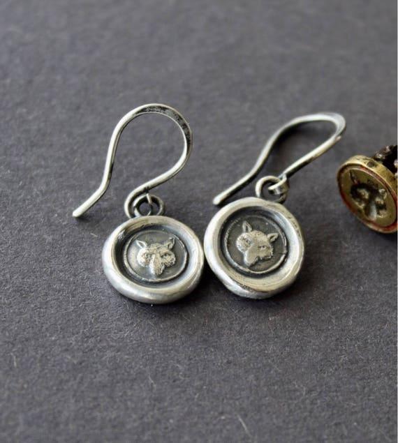 Fox earrings, sterling silver, antique wax letter seal. Wisdom, wit, shrewdness.