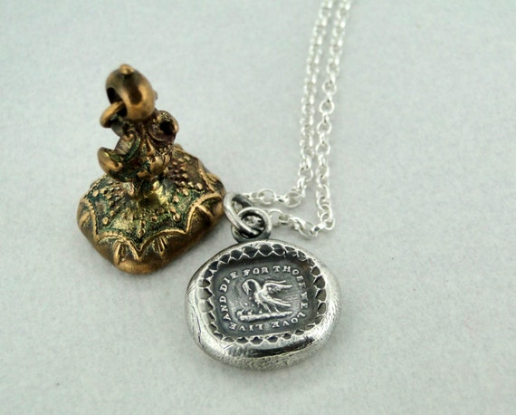 Live and die for those we love ….. Sterling silver pendant.  Impression of antique wax letter seal.