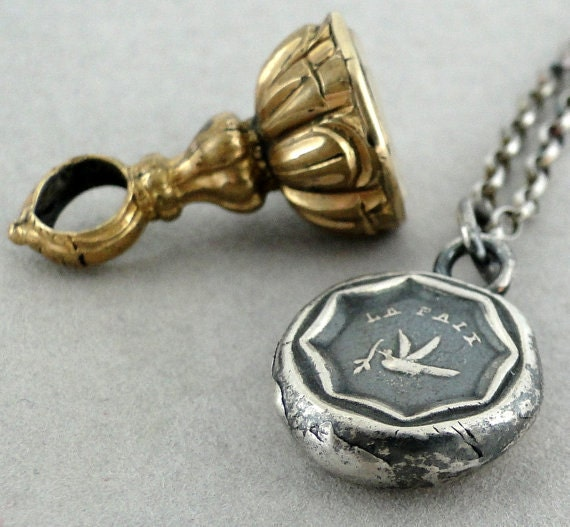 La Paix.....peace, antique wax seal, sterling silver, token, talisman, pendant