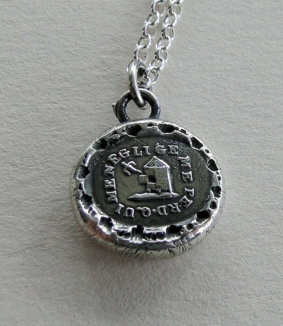 He who Neglects me loses me.... wax seal pendant, necklace, chain  sterling silver, pendant, bird necklace, birdcage necklace, silver charm