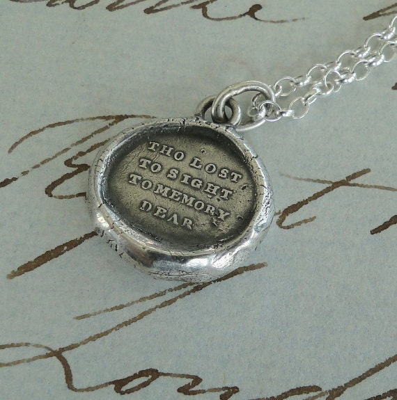Tho lost to sight...... mourning seal. Remembering, sterling silver, separation, wax letter seal necklace, meaningful jewelry, momento mori.