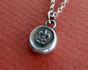 Fleur de Lis, necklace, antique wax seal stamp, Sterling silver, pendant, french, wax seal, crest, , symbol, handmade jewelry, French symbol