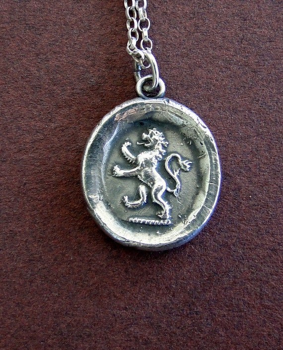 Large.......Valiant, Antique wax letter seal, Sterling silver, Lion emblem of courage,