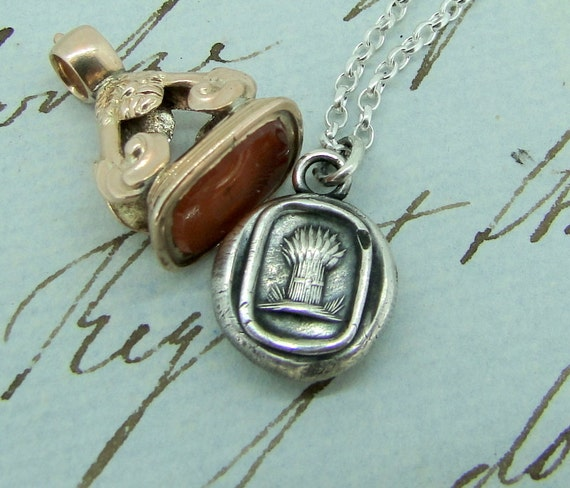 harvesting your dreams, Antique wax seal impression, pendant and chain 100% sterling silver.