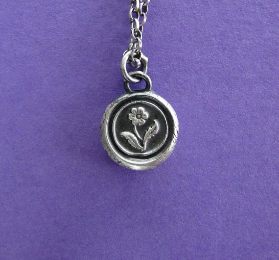 Forget me not, wax seal pendant necklace, flower with no text, romantic, sterling silver impression of wax seal.