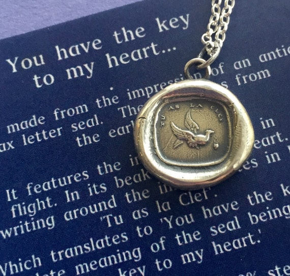 You Have The Key To My Heart French Antique Wax Letter Seal Impression In Sterling Silver