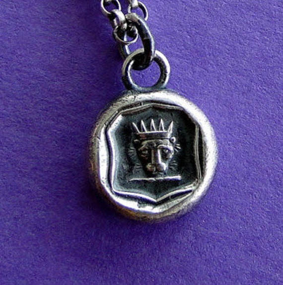 Courage, Lion with crown, wax seal, sterling silver, pendant necklace