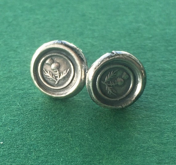 Sterling silver, Thistle, wax seal stud earrings. Scottish emblem, antique seal impression.