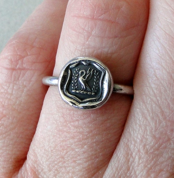 Swan Ring,  wax seal jewelry, sterling silver, amulet.