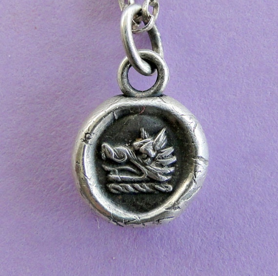 Wax Seal Pendant, sterling silver necklace, Bravery and Perseverance, Boars head ,  handmade jewelry, meaningful, good luck, amulet, pedant