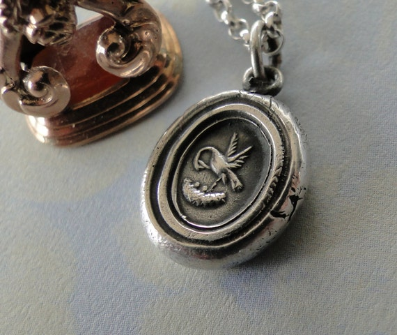 Motherhood, nurturing swan, amulet, pendant, necklace, sterling silver.