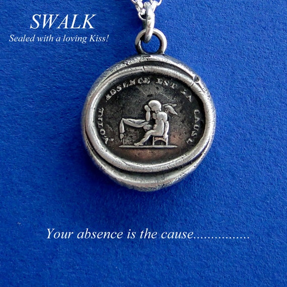 Wax seal impression, sterling silver, sentimental motto, necklace, cupid crying over lost love, loneliness, your absence, handmade charm