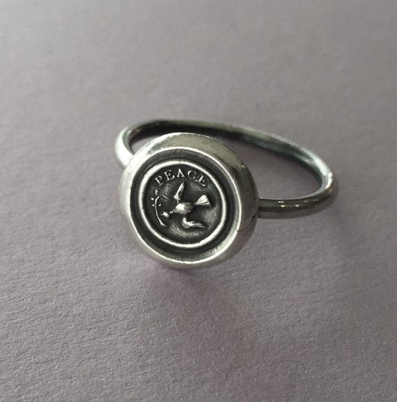 Peace ring,  wax seal jewelry, sterling silver, amulet