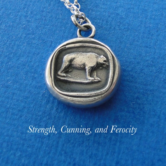 Bear… Strength, Cunning and Ferocity. Sterling silver antique wax letter seal Amulet.