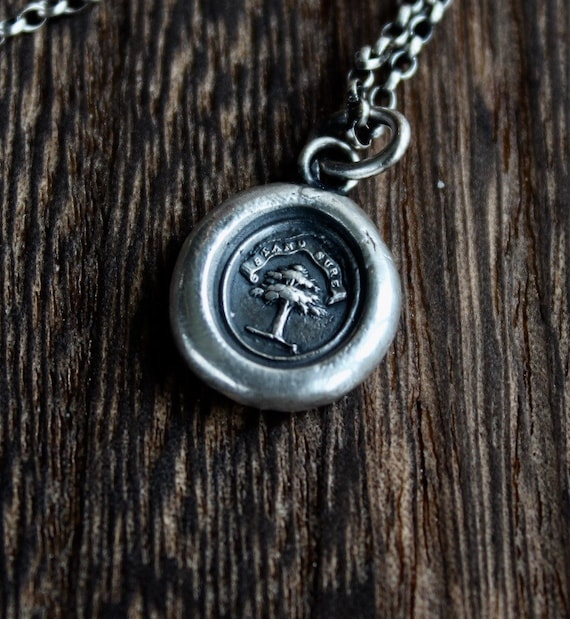 Stand Sure, antique was letter seal necklace, sterling silver necklace, wax seal impression, oak tree necklace.