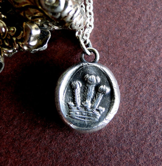 Crown, antique wax seal impression, sterling silver, choice of neck pieces.