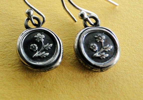 Forget me not flower, wax seal, sterling silver, dangle earrings.