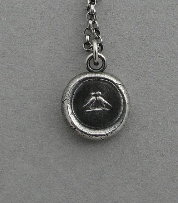 Love birds, wax seal jewelry, sterling silver, love, romance, talisman, pendant.