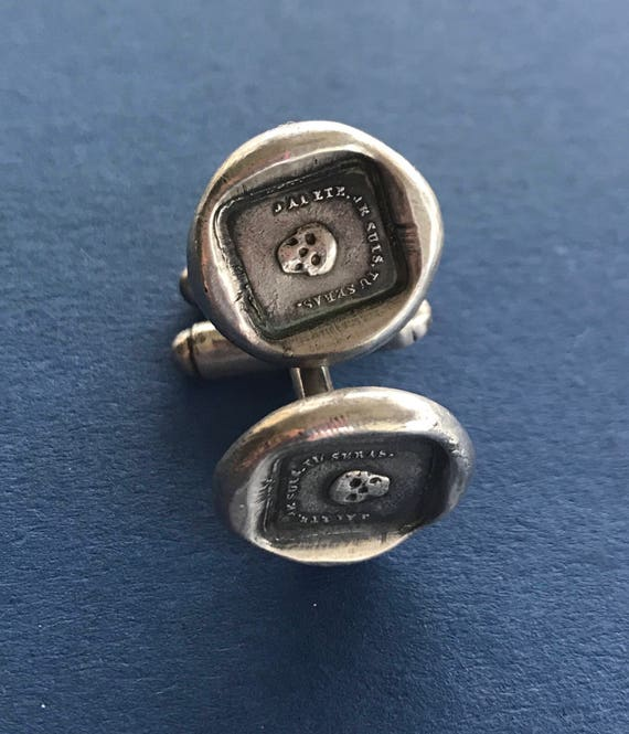 Mortality cufflinks, skull, 'as you ate so once was I' sterling silver cufflinks. swalk, antique wax letter seal impression