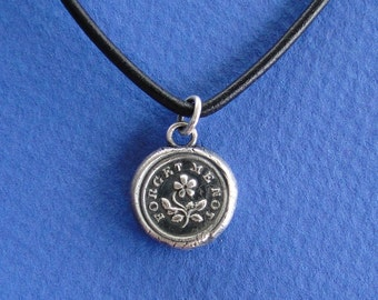 Forget me not, wax seal pendant, romantic, sterling silver impression of wax seal.