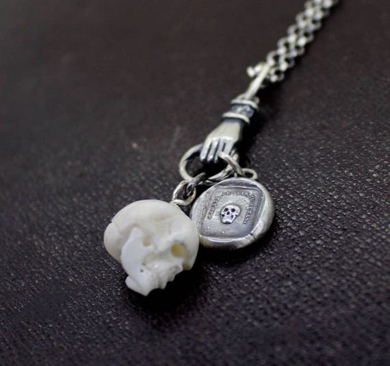 Skull Charm, Bone carved skull
