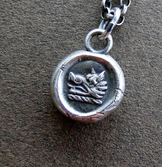 Sterling silver, handmade, Wax Seal Pendant, Bravery and Perseverance, Boars head,  100% Sterling silver Antique image